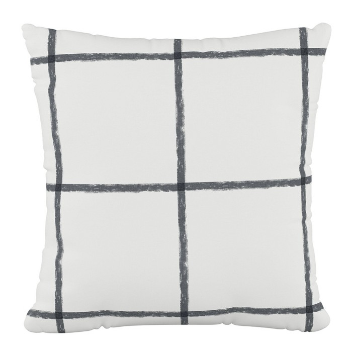In Line Tattersall Polyester Square Pillow Gray - Cloth & Co. - image 1 of 4
