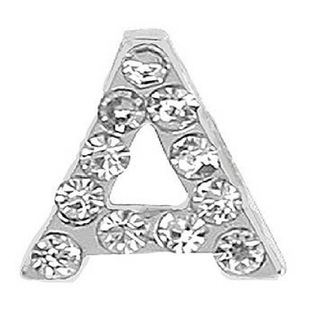 iPops Letter A Fitbit/Apple Watch Band Charm - Silver, Light Silver
