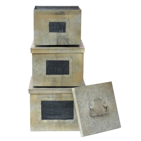 Aged Galvanized Metal Boxes w/Chalkboard Labels Gray 3pk - Stonebriar - image 1 of 3
