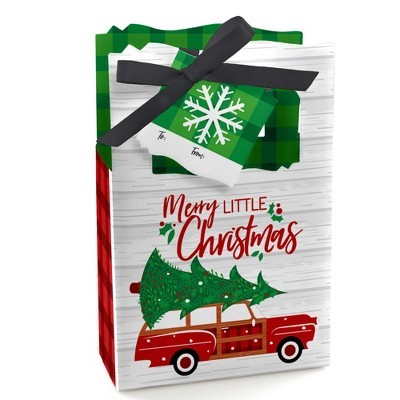 Big Dot of Happiness Merry Little Christmas Tree - Red Car Christmas Party Favor Boxes Gift Bags - Set of 12