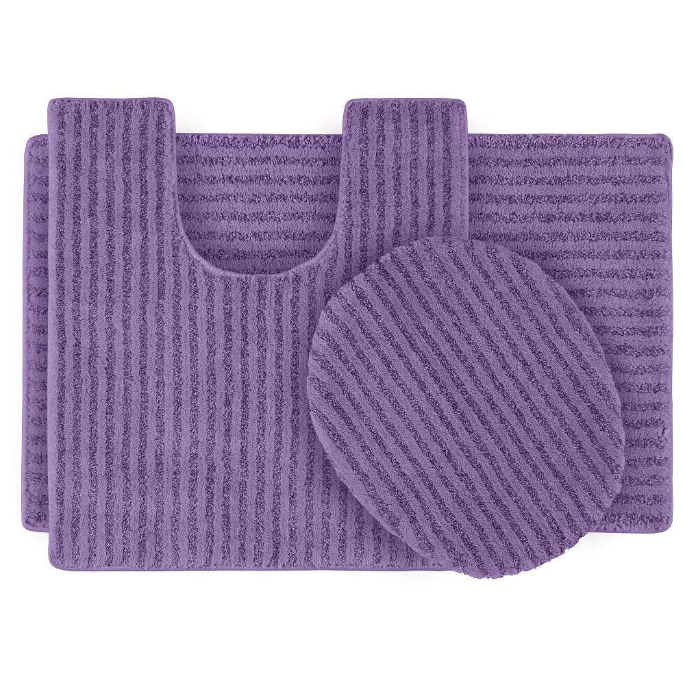 Garland 3 Piece Sheridan Plush Washable Nylon Bath Rug Set - Purple