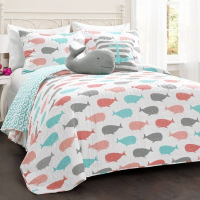 Whale Bedding Set with Whale Throw Pillow - Lush Décor