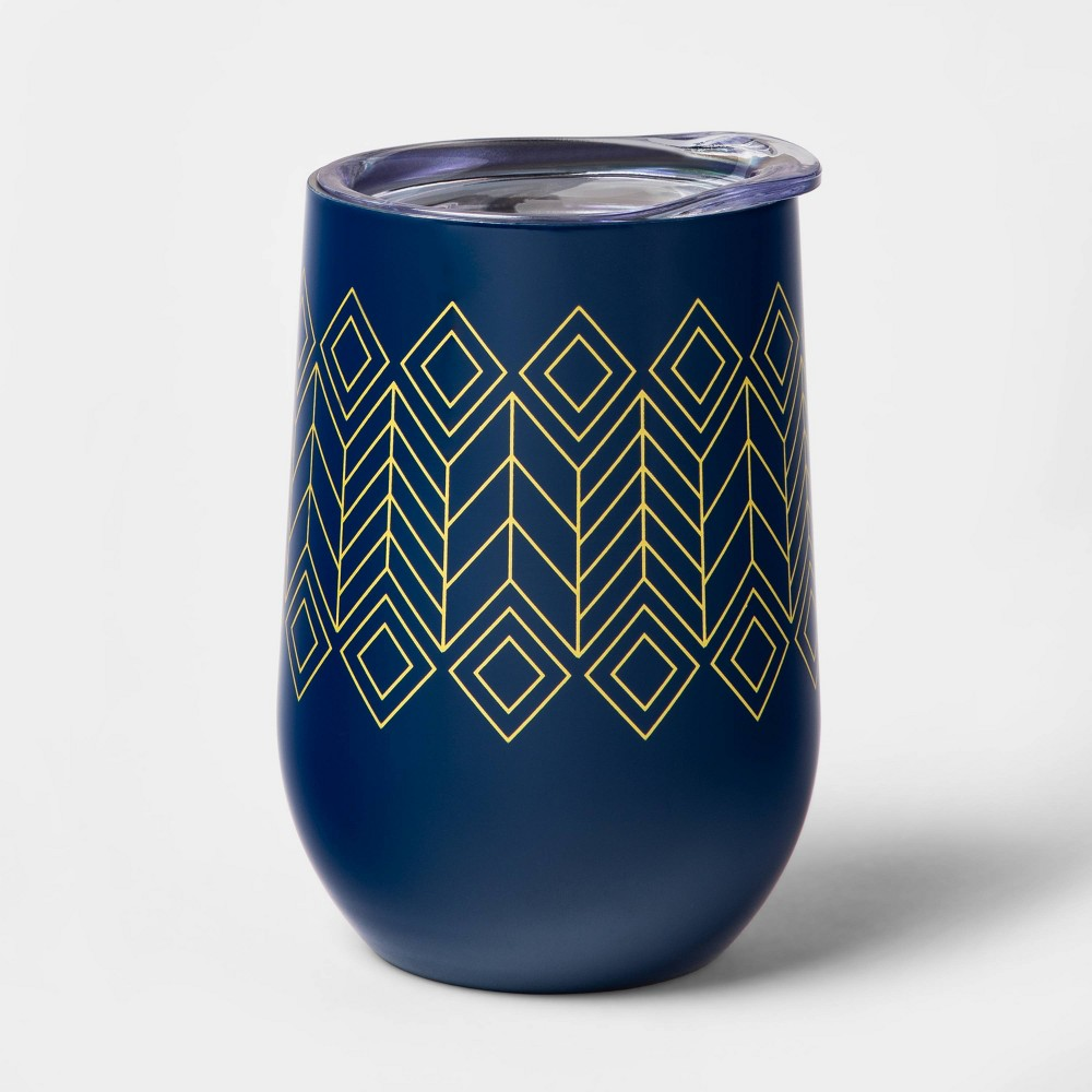 Image of 11oz Stainless Steel Double Wall Wine Tumbler with Lid Blue - Room Essentials , Gold Blue