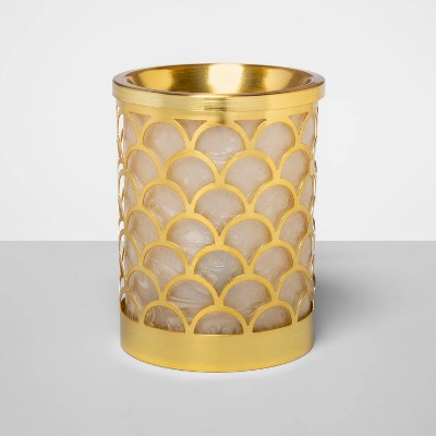 "6"" x 4.5"" Scallop Capiz and Glass Electric Scent Warmer Gold - Opalhouse™"