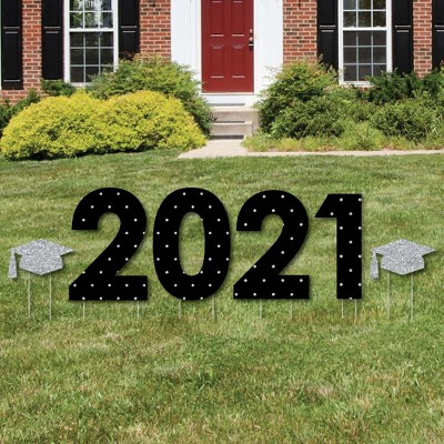 Big Dot of Happiness Silver Tassel Worth The Hassle - 2021 Yard Sign Outdoor Lawn Decorations - Graduation Party Yard Signs - 2021
