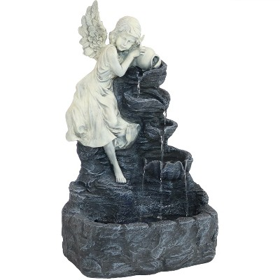 """Sunnydaze Outdoor Solar Powered Angel Falls Water Fountain with Battery Backup and Submersible Pump - 27"""""""