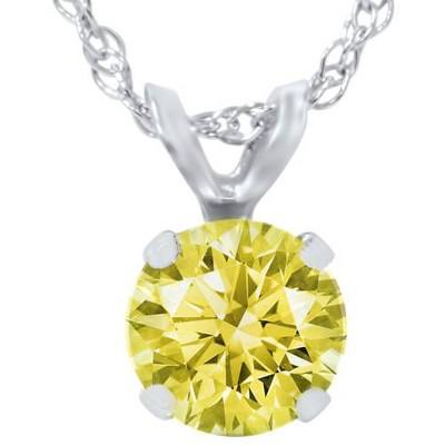 Pompeii3 3/4ct Yellow Diamond Solitaire Pendant 14K White Gold