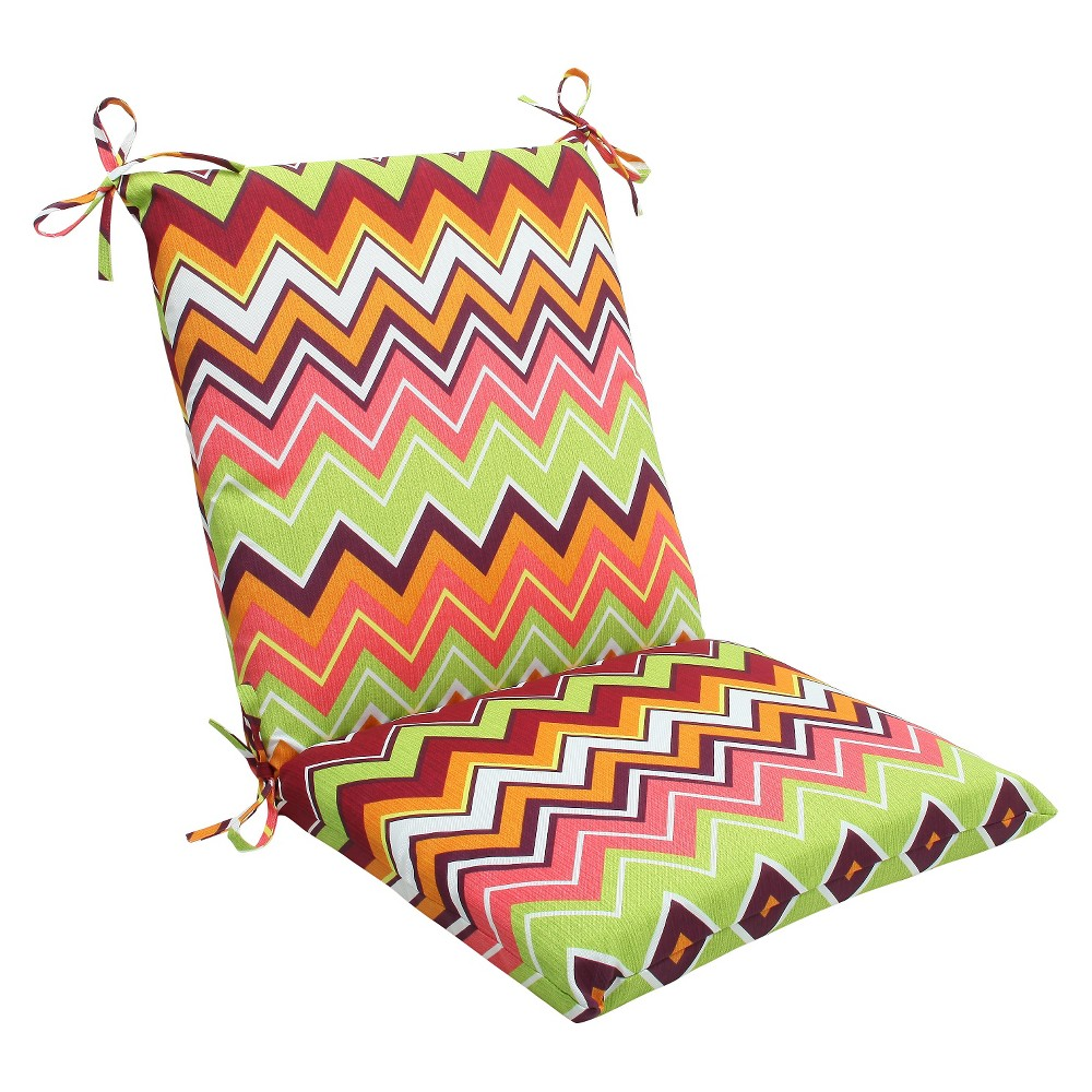 Outdoor Seat Pillow Perfect Square 2pc Cushion Chevron Green/Pink