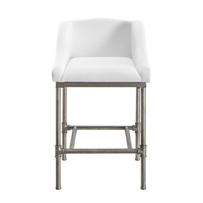 Dillon Metal Counter Height Barstool Textured Silver/White - Hillsdale Furniture