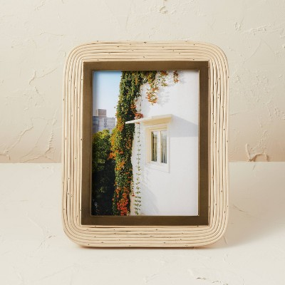 """8"""" x 10"""" Rattan/Glass Photo Frame Beige - Opalhouse™ designed with Jungalow™"""
