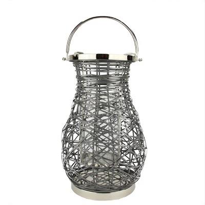 "Northlight 16.25"" Modern Gray Decorative Woven Iron Pillar Candle Lantern with Glass Hurricane"