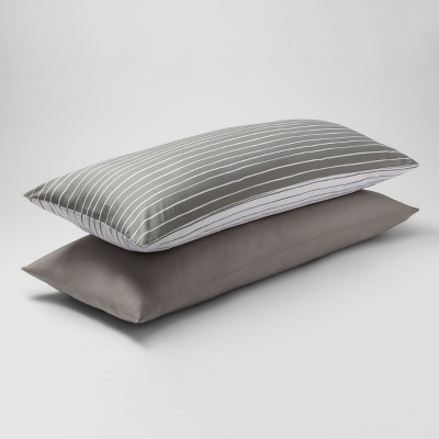 Mircofiber Striped Body Pillow Cover 2pk Gray - Room Essentials™