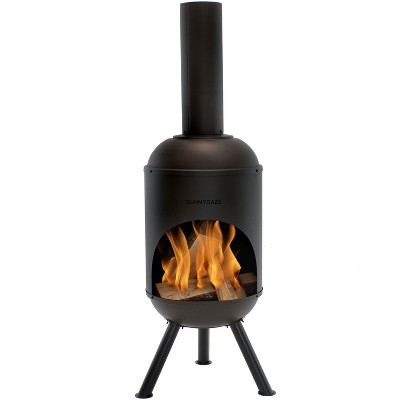 Sunnydaze Outdoor Backyard Patio Modern Steel Wood-Burning Fire Pit Chiminea with Wood Grate - 5' - Black