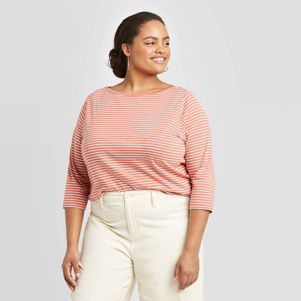 Women's Plus Size Striped 3/4 Sleeve Boat Neck T-Shirt - A New Day Red/Cream 1X, Women's, Size: 1XL was $12.99 now $9.09 (30.0% off)