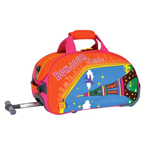 J World Paris Kids Rolling Duffel Bag - Orange/Blue - image 1 of 3