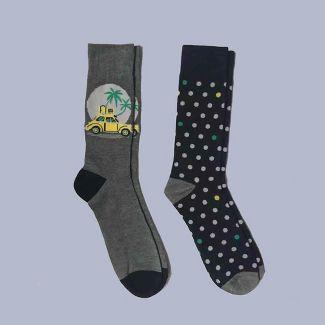Mens 2pk Car Novelty Crew Socks - Goodfellow & Co™ Heather 7-12