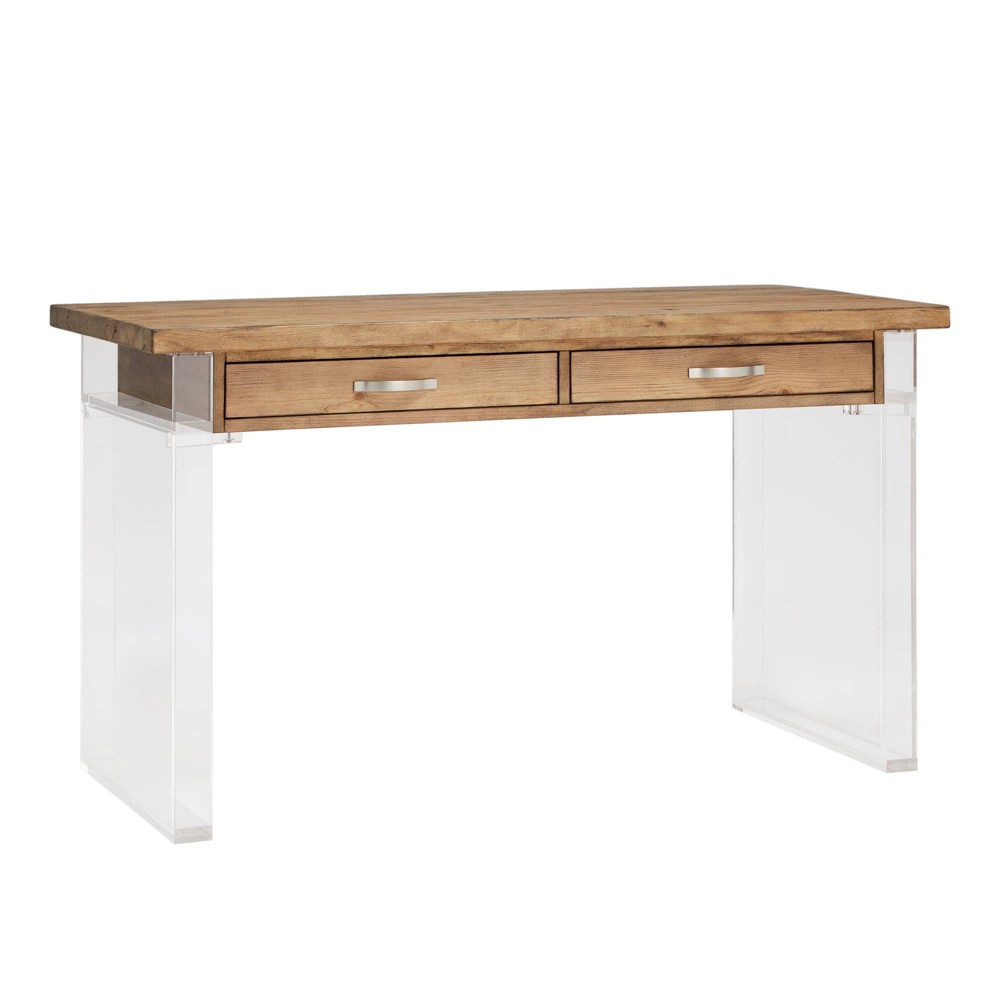 Cadence Reclaimed Wood and Acrylic Writing Desk Natural - Inspire Q