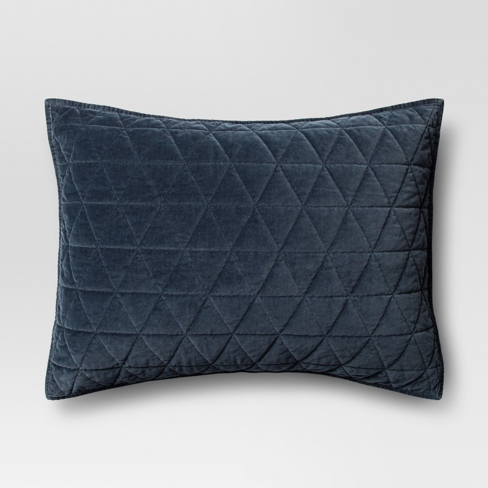 Blue Vintage Wash Velvet Sham (King) - Threshold