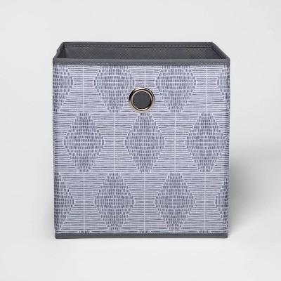 "11"" Fabric Cube Storage Bin Gray Pattern - Room Essentials™"
