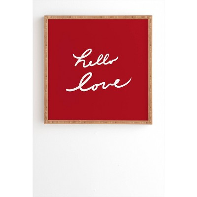 Lisa Argyropoulos Hello Love Bamboo Framed Wall Art Red - Deny Designs