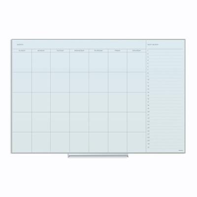 "U Brands 36""x24"" Floating Glass Dry Erase Calendar Board White Frosted Surface Frameless"