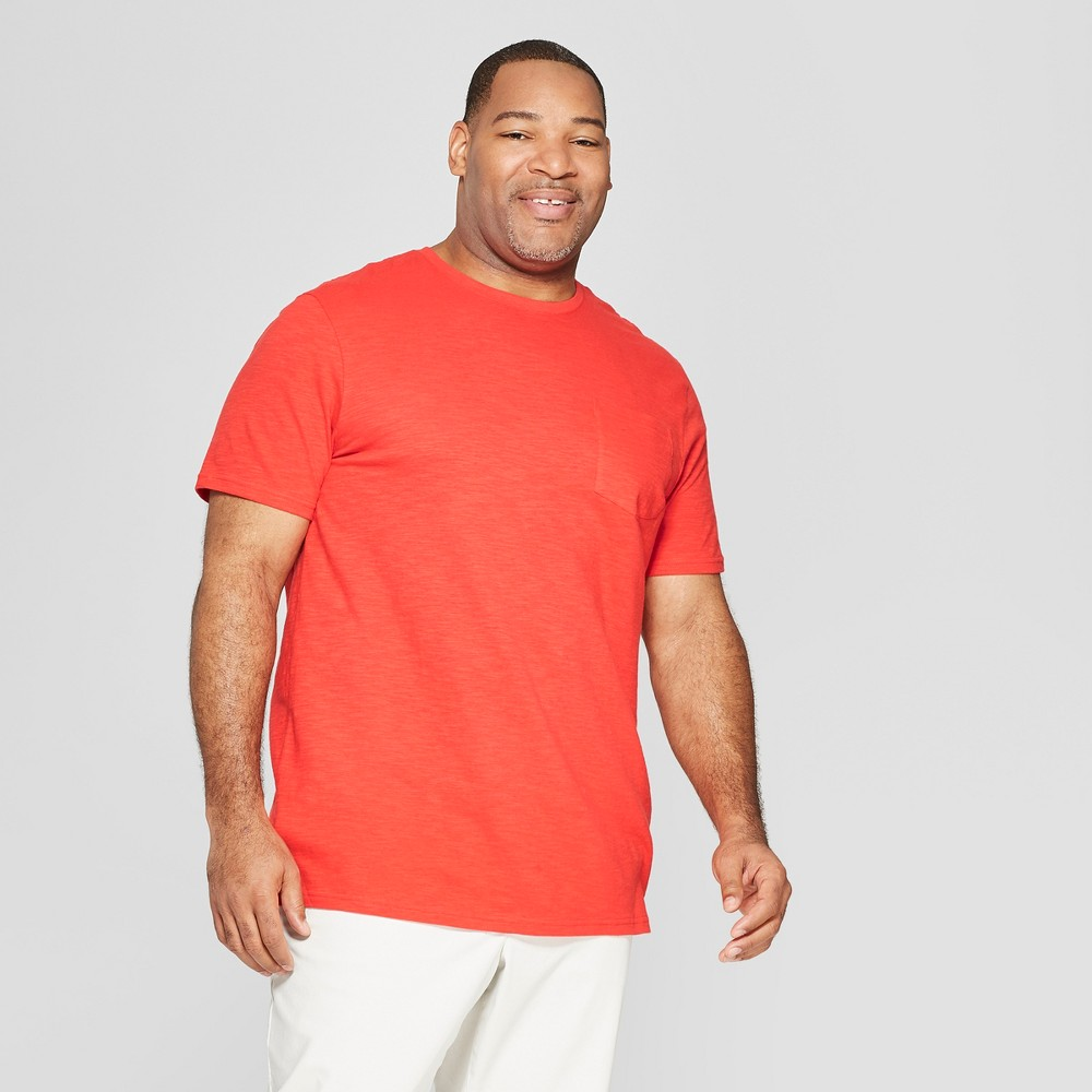 Best Buy Men Big Tall Standard Fit Short Sleeve Crew T Shirt Goodfellow Co Hot Coral 2XB