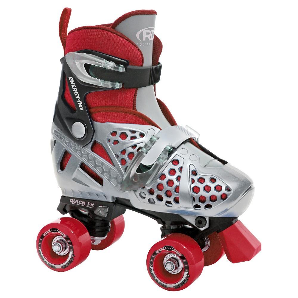 Roller Derby Kids' Trac Star Quad Skates - Gray/Red - (3-6)