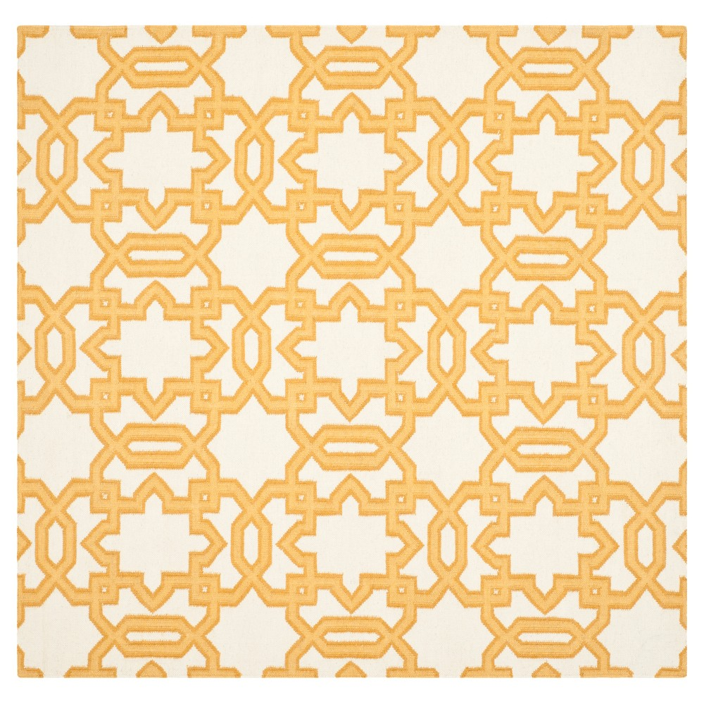 Piper Dhurrie Area Rug - Ivory / Yellow (6' X 6') - Safavieh, Ivory/Yellow