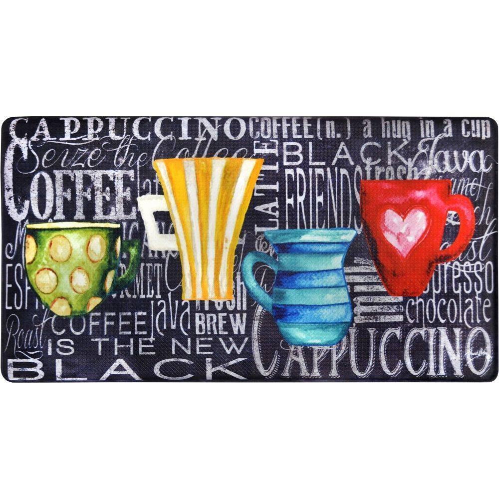 Home Dynamix 19 34 X 35 34 Coffee Cups Chalk Kitchen Mat Black White