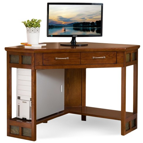 Corner Computer/Writing Desk Distressed Rustic Autumn - Leick Home - image 1 of 4