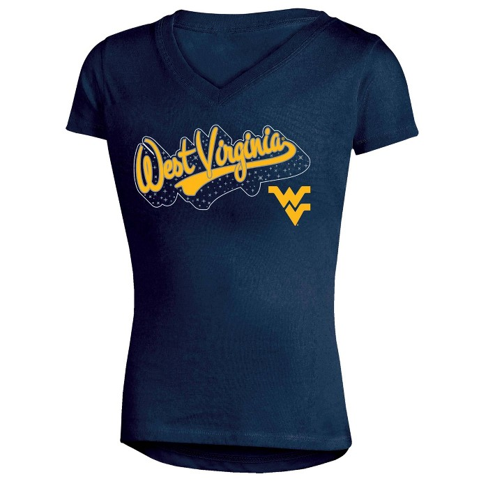 NCAA Girl's Short Sleeve V-Neck Puff Glitter T-Shirt West Virginia Mountaineers - image 1 of 1