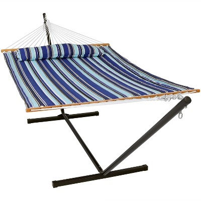 Catalina Beach Quilted Double Fabric Hammock with 12' Stand -Blue/Black/White  - Sunnydaze Decor