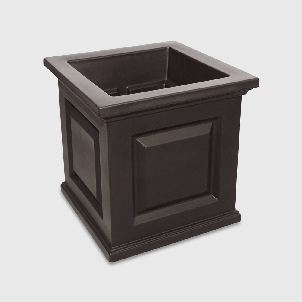 "Image of ""16"""" x 16"""" Nantucket Patio Square Planter Espresso Brown - Mayne"""