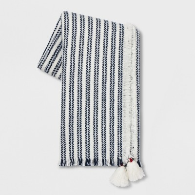 Textured Stripe With Corner Tassels Throw Blanket White/Blue - Opalhouse™