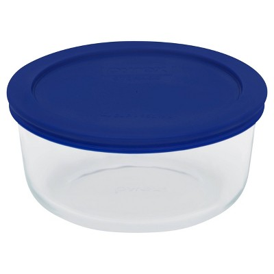 Pyrex 4 Cup Glass Round Storage Container Blue