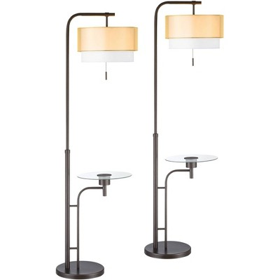 Possini Euro Design Modern Tall Floor Lamps Set of 2 with Tray Table USB Charging Port Bronze Double Drum Shades for Living Room