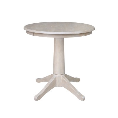Solid Wood Round Pedestal Dining Table Weathered Gray - International Concepts
