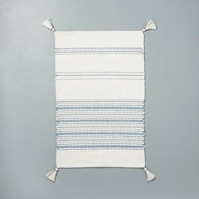 Tonal Stripes Bath Rug Sour Cream/Faded Blue - Hearth & Hand™ with Magnolia