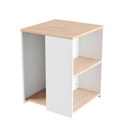 End Table With Open Shelves Brown/White   Yorkshire Home