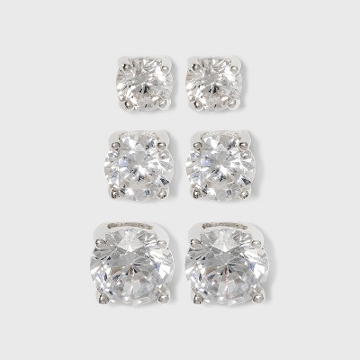 Women's Sterling Silver Stud Earrings Set of 3 Post Round Cubic Zirconia 3pc - Silver/Clear