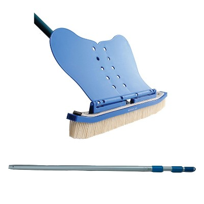 Wall Whale Classic 18 Inch Pool Wall Cleaning Brush + 94 Inch Telescoping Pole