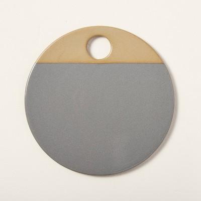 Round Exposed Stoneware Serve Board Gray - Hearth & Hand™ with Magnolia