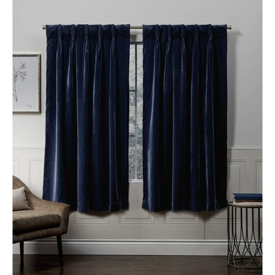 Velvet Pinch Pleated Light Filtering Window Curtain Panels - Exclusive Home