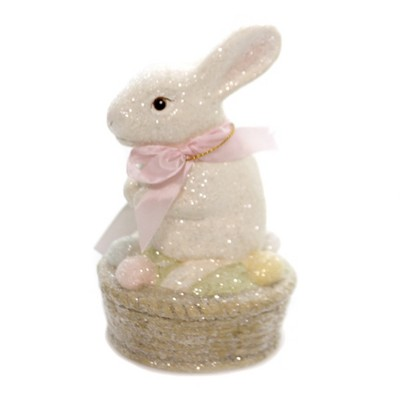 "Easter 6.0"" Bunny On Egg Basket Pastels Glitter  -  Decorative Figurines"