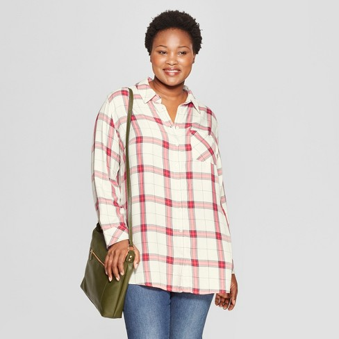 e512051aaba59 Women s Plus Size Plaid No Gap Button-Down Long Sleeve Tunic - Ava   Viv™  Ivory Red
