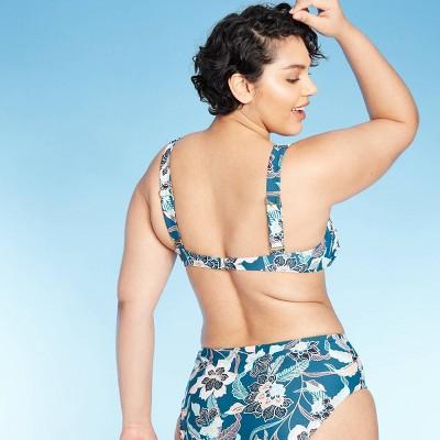 Women's Center Cinch Over The Shoulder Bikini Top - Blue Floral Kona Sol™ S