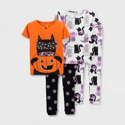 Baby Girls' 4pc Halloween Snug Fit Pajama Set - Just One You® made by carter's Orange/Black