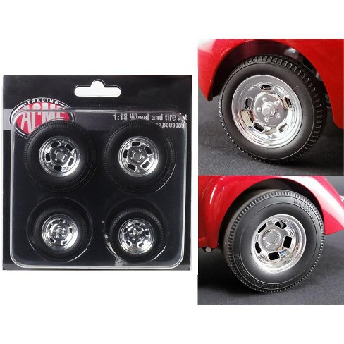 Polished Drag Wheels and Tires 4 pcs Set from 1941 Gasser 1/18 by Acme - image 1 of 2