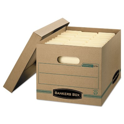 Bankers Box STOR/FILE Storage Box Letter/Legal Lift-off Lid Kraft/Green 12/Carton 1277601