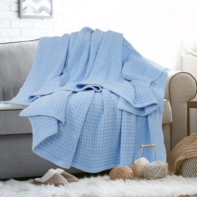 1 Pc Cotton Soft  Waffle Woven Bed Blankets  - PiccoCasa